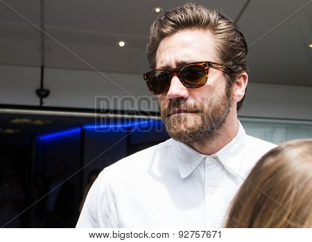 American Actor Jake Gyllenhaal with fans during the 68th annual Cannes Film Festival on May 14, 2015 in Cannes, France.