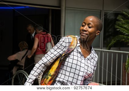 Malian singer-songwriter Rokia Traor���© with fans during the 68th annual Cannes Film Festival on May 14, 2015 in Cannes, France.