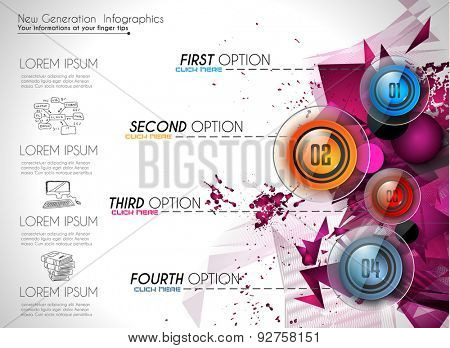 Infographic Abstract template with 4 choices glass buttons with shiny effect. Ideal for marketing and printed material, product classifications, ranking, business solutions,item list , ideas proposal.