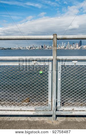 Lock On Fence With Seattle Skyline