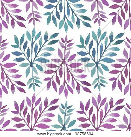 Seamless pattern. Watercolor stems with leaves.