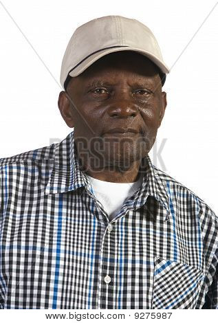 Old African American Man Wearing Hat