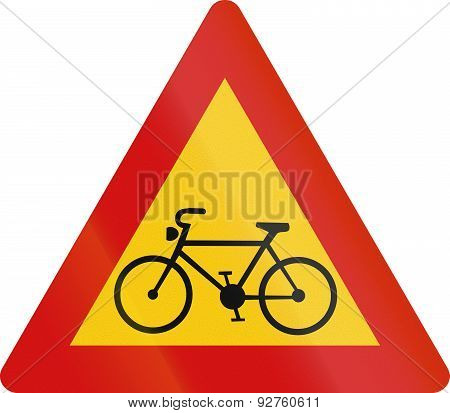 Cyclists Crossing In Iceland