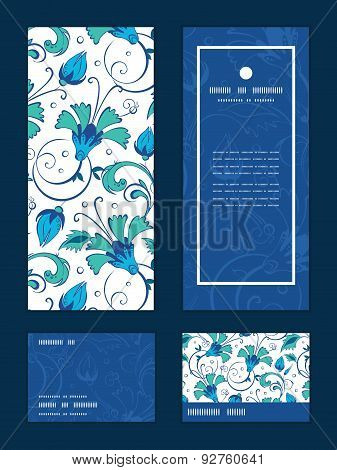 Vector blue green swirly flowers vertical frame pattern invitation greeting, RSVP and thank you card
