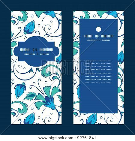 Vector blue green swirly flowers vertical frame pattern invitation greeting cards set