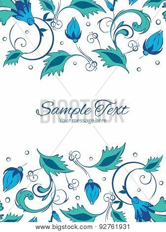 Vector blue green swirly flowers vertical double borders frame invitation template