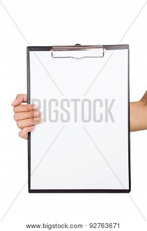 Woman Holding A Clipboard On White Background