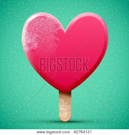 Realistic Pink Chocolate Heart Shaped Ice Cream