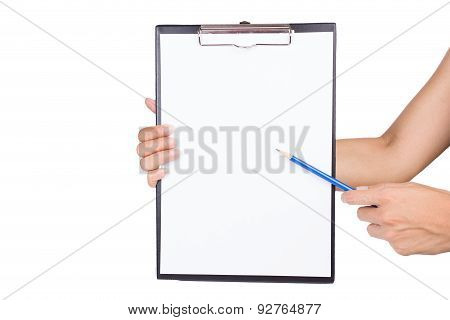 Woman Pointing On Clipboard By Pencil On White Background