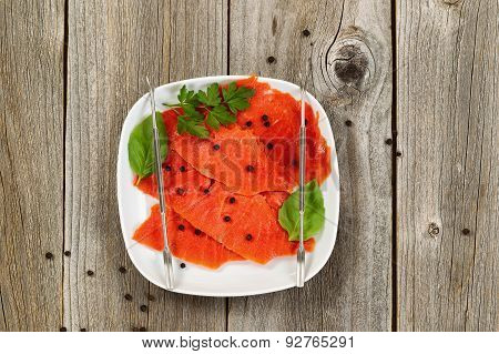 Fresh Cold Smoked Red Salmon On Plate