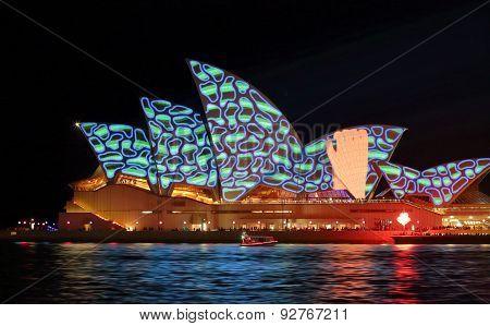 Hand Grabbing Pattern Sydney Opera House Vivid