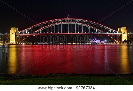 Sydney Harbour Bridge In Red