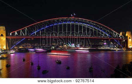 Lavender Bay And Sydney Harbour Bridge During Vivid Sydney