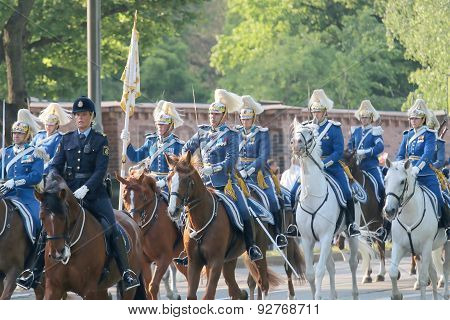 The Royal Guards And The Police On The Horse Back