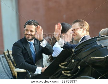 The Swedish Prince Carl-filip Bernadotte And Prince Daniel Westling