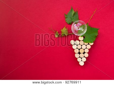 Creative Bunch Of Grapes With Wine Glass And Copy-space
