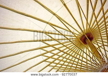 Abstract Paper umbrella and umbrella bamboo frame