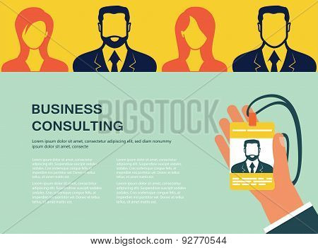 Concept for web banners and promotions. Flat design concept for business consulting