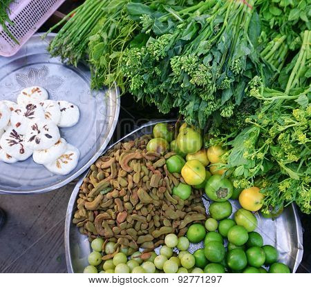 Various Vegetables At The Local Market In Myanmar