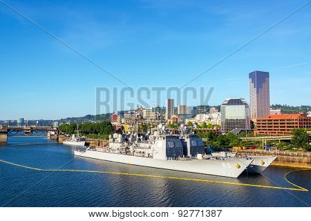 Navy Ships And Downtown Portland