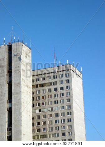 Edge Of Office Building With Antennas
