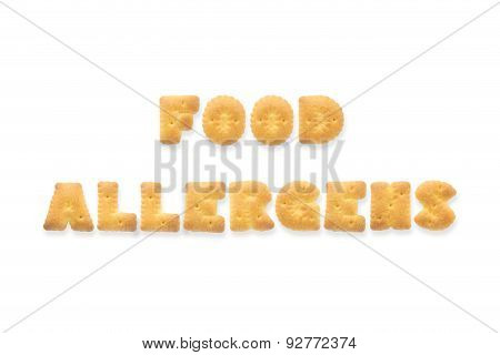 The Letter Word Food Allergens. Alphabet  Cookie Biscuits