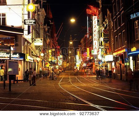 City centre at night, Amsterdam.