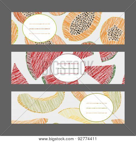 Horizontal Fruit Banner Set. Papaya, melon and watermelon. Harvest ornament. Illustration.
