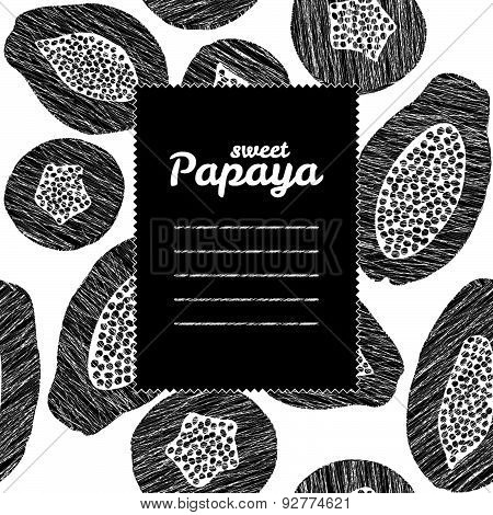 Text frame. Black and white. Endless papaya texture, repeating fruit background.