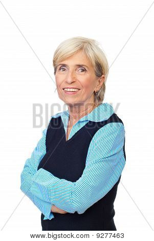 Smiling Senior With Arms Folded