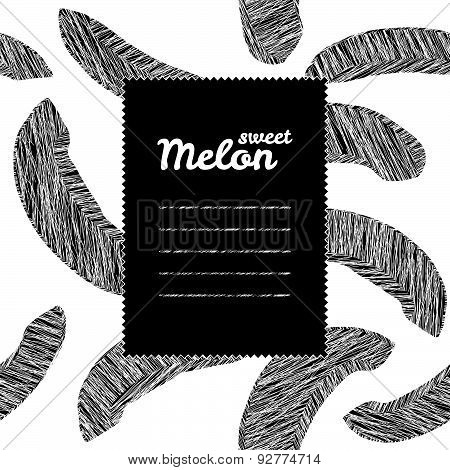 Text frame with melon background. Black and white. Repeating harvest backdrop.