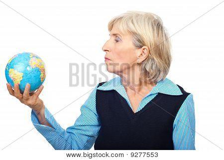 Portrait Of Senior Hold A Globe