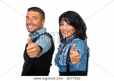 Happy Business Partners Gives Thumbs