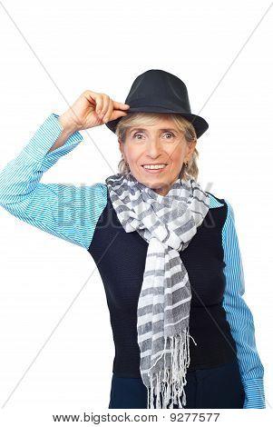 Moda mulher sênior com chapéu