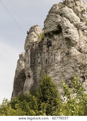 Climbing Exercise On Groups Of Rocks In The Jura Cracow Czestochowa In