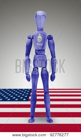 Wood Figure Mannequin With Us State Flag Bodypaint - Kansas