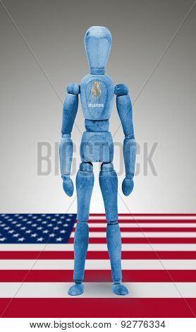 Wood Figure Mannequin With Us State Flag Bodypaint - Oklahoma