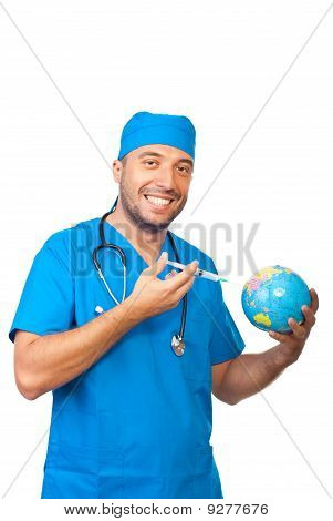 Doctor Man Immunize Earth Globe