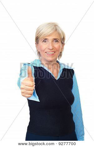 Senior Business Woman Giving Thumbs