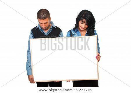 Two Business People With Cardboard