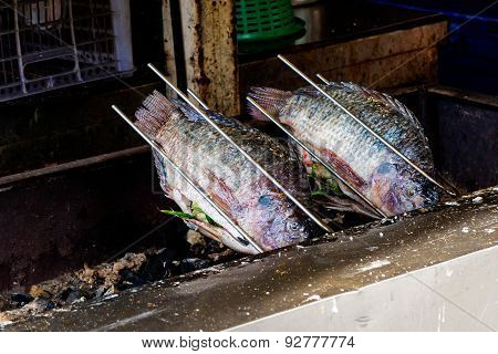 Fresh delicious grilled nile tilapia