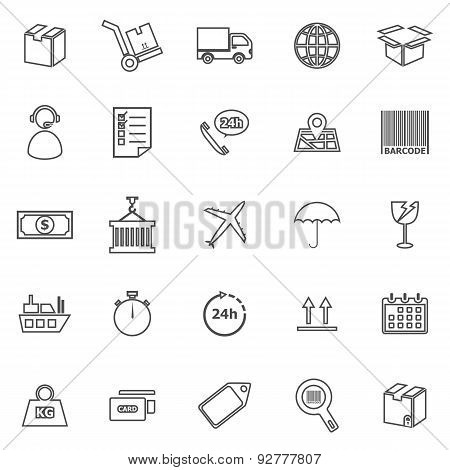 Logistics Line Icons On White Background