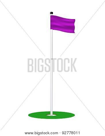 Golf hole with purple flag