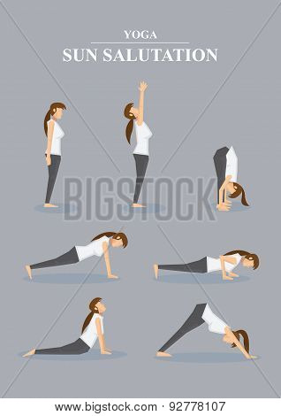 Slim Sporty Woman In Yoga Poses Sun Salutation Series