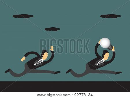 Run With Business Idea Conceptual Vector Illustration