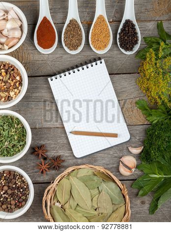 Colorful herbs and spices selection. Aromatic ingredients on wood table with blank notepad