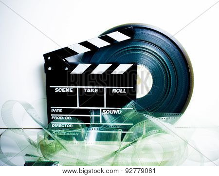 Movie Clapper Board And 35 Mm Film Reel