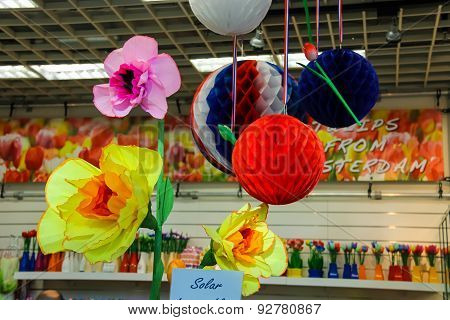 Artificial Flowers And Balloons Decorate The Gift Shop At The Airport Amsterdam Schiphol, Netherland