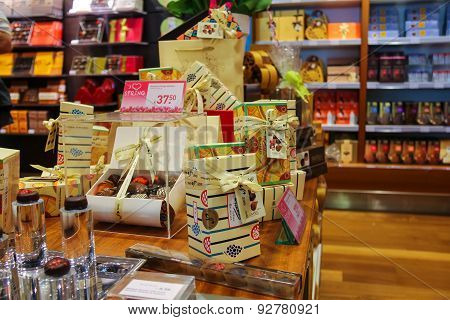 Sale Of Sweets And Chocolates In A Candy Store At The Airport Amsterdam Schiphol, Netherlands