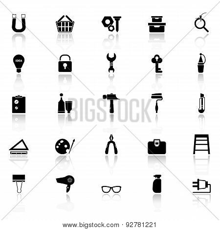 Diy Icons With Reflect On White Background